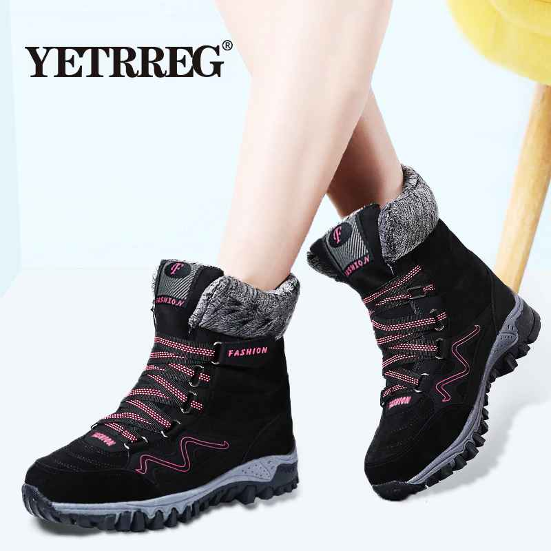 New Arrival Fashion Suede Leather Women Snow Boots Winter Warm