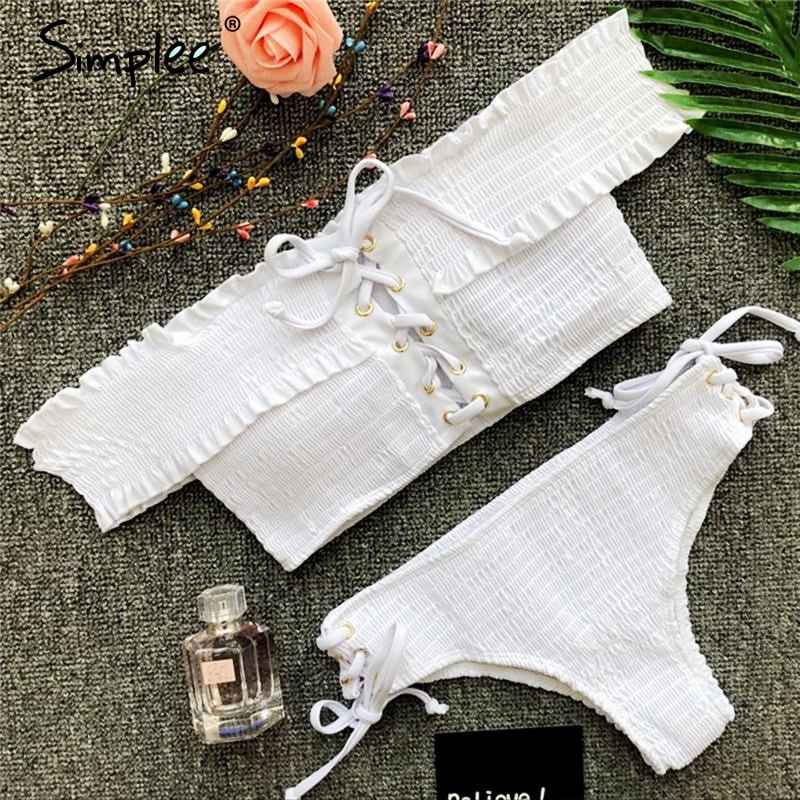 Swimwear Simplee White Bikini 2019 Micro Off Shoulder Swimwear Women