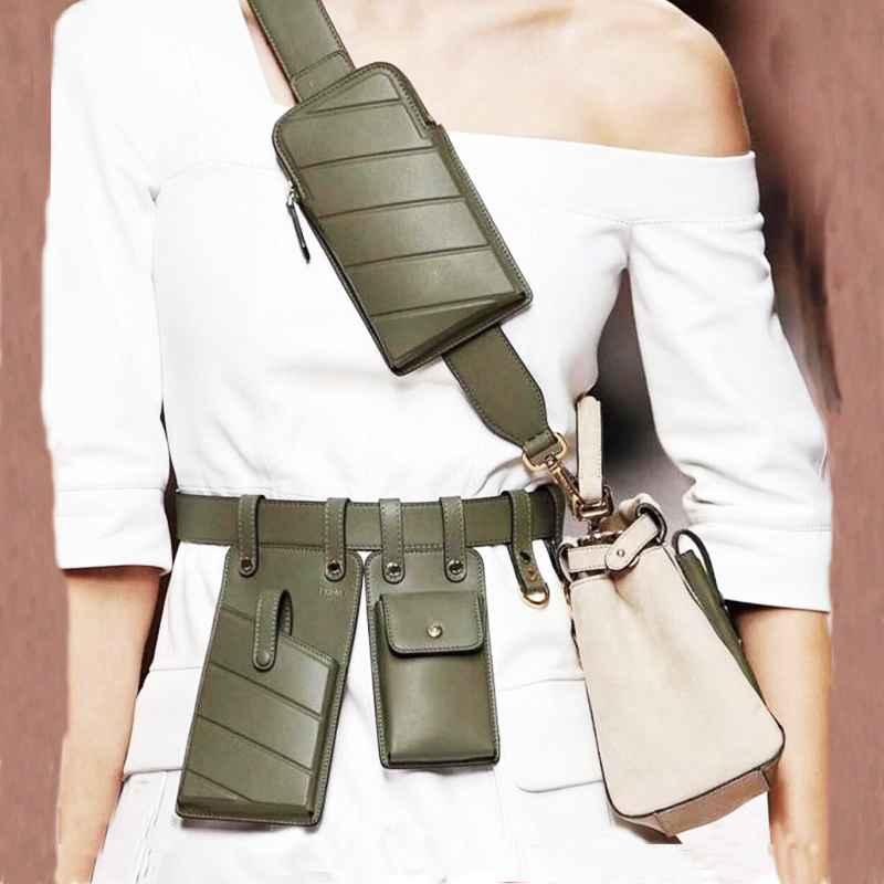 Women Waist Bag Fashion Leather Waist Belt Bag Crossbody Chest