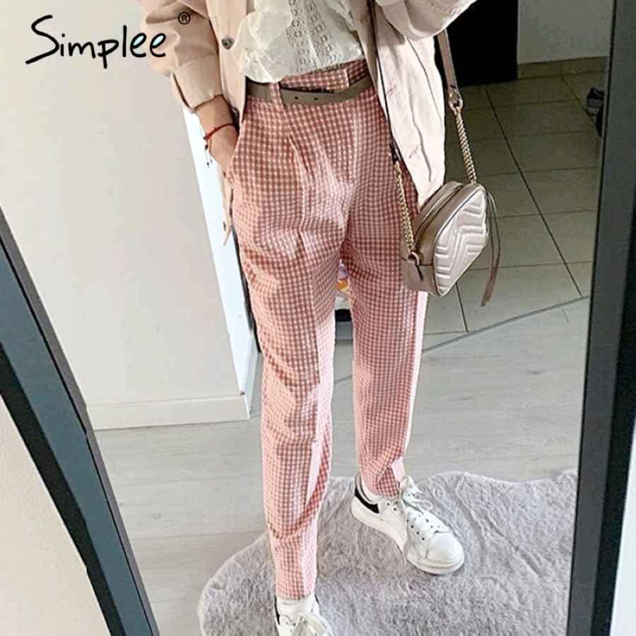 Pink Plaid Casual Pants Women 2019 Summer Vintage Work Pants