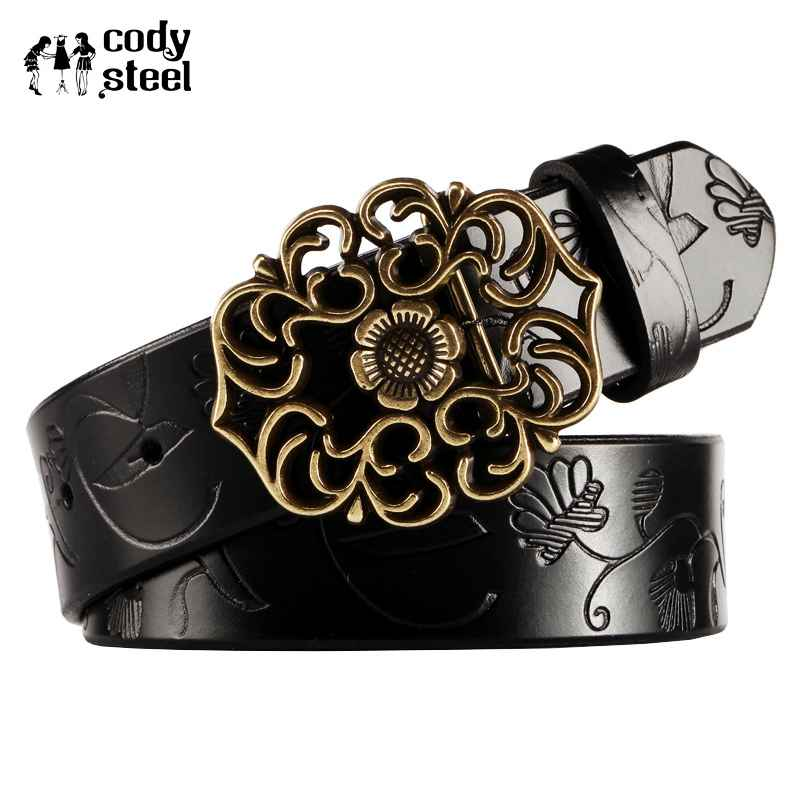 Cody Steel Stylish Belts Luxury Lady Split Leather Fashion Women