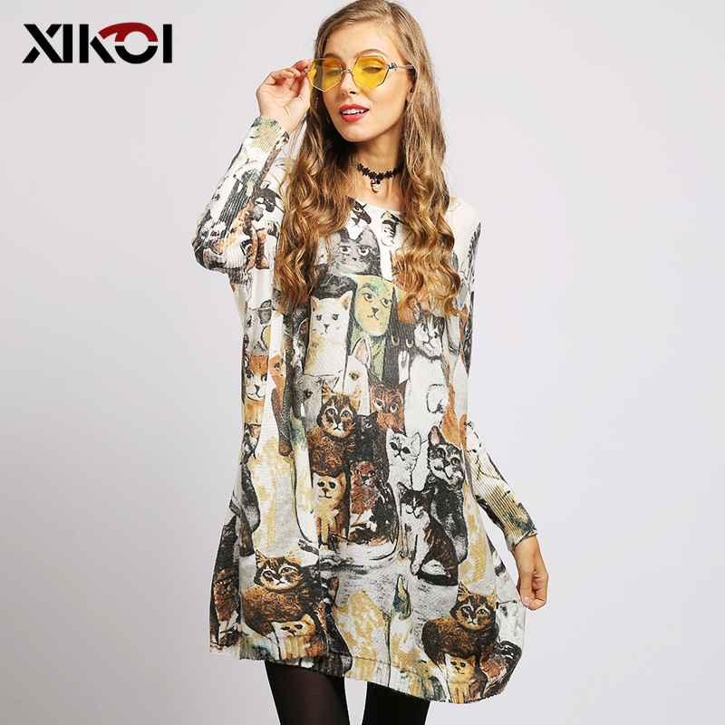 Xikoi European And American Oversized Women Sweaters Cat Print Slash
