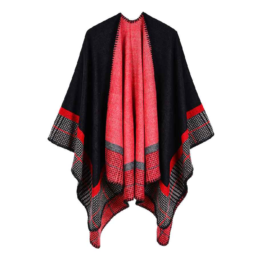 Womens Stripe Ponchos Cashmere Acrylic Thermal Female Capes Insulation Air