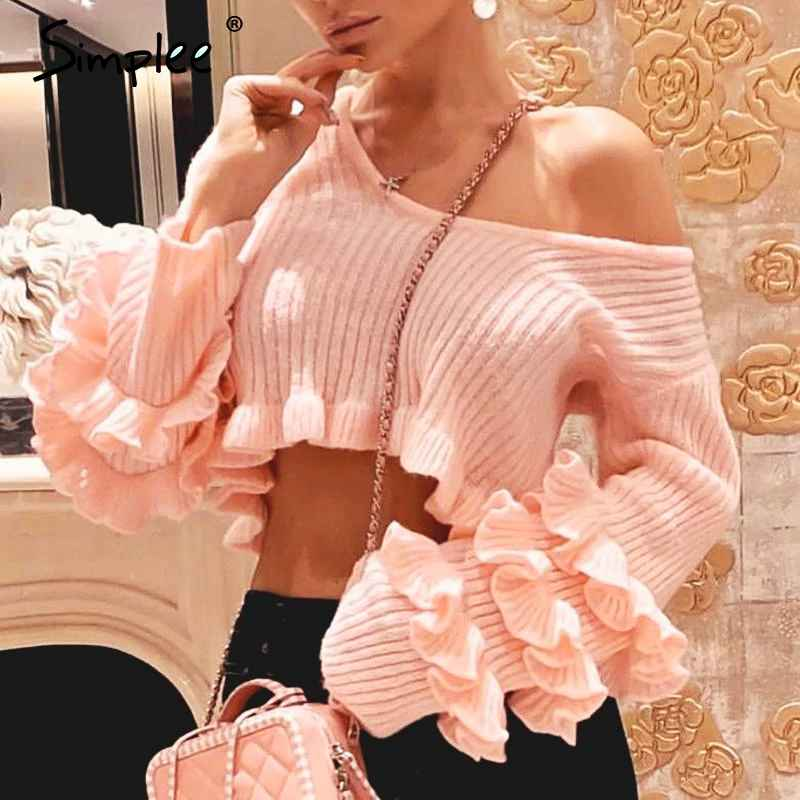 Pullover Jumpers Simplee Ruffle Crop Pink Sweater Women Striped Solid
