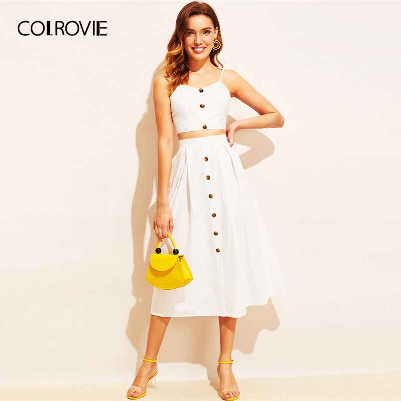 Colrovie White Knot Back Crop Cami With Button Front Skirt