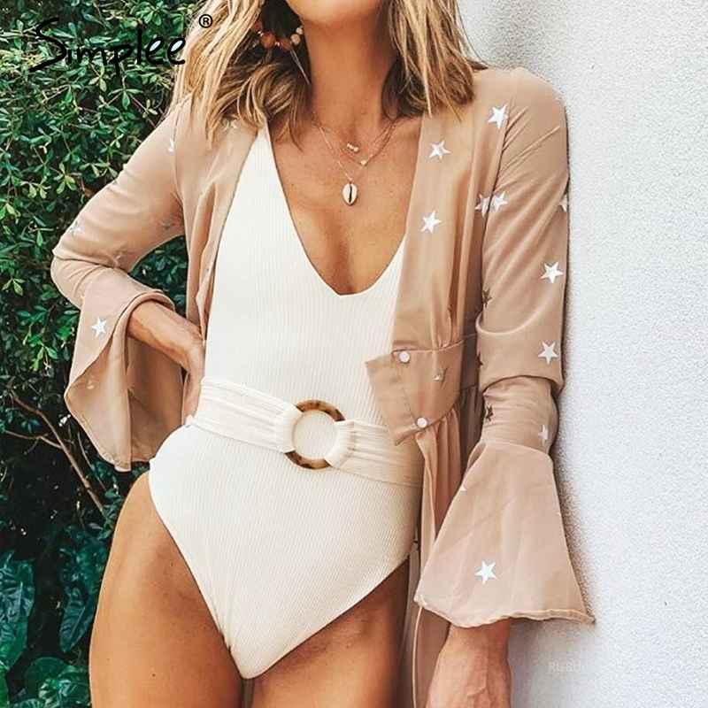 Swimwear Simplee V-Neck Swimwear Women Bathing Suit Belt Female Swimsuit