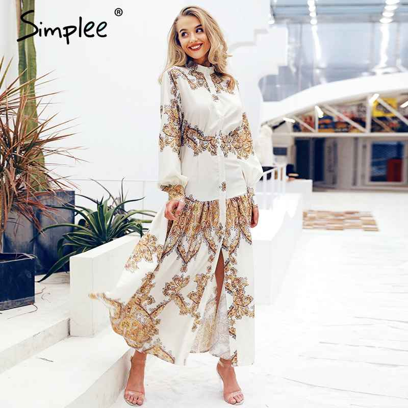 Floral Print Dresses Simplee White Paisley Print Women Dress Elegant