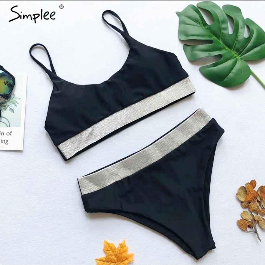 Glitter String Women Bikini Set Push Up Bathing Suit High