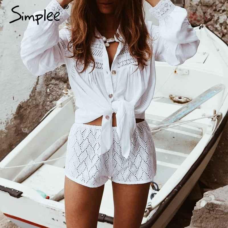 Swimwear Simplee White Beach Cover Up Blouse Shirt Summer Tunics