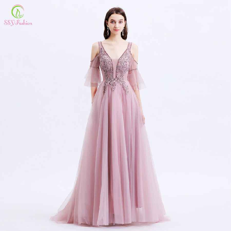 New Formal Dresses Women Elegant Banquet Sweet Pink Lace Appliques