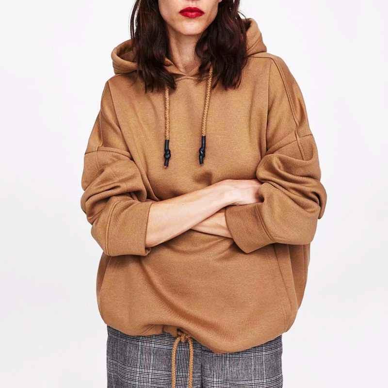 Hoodies Women Harajuku Cotton Hoodies Solid Patchwork Pockets Regular Oversize