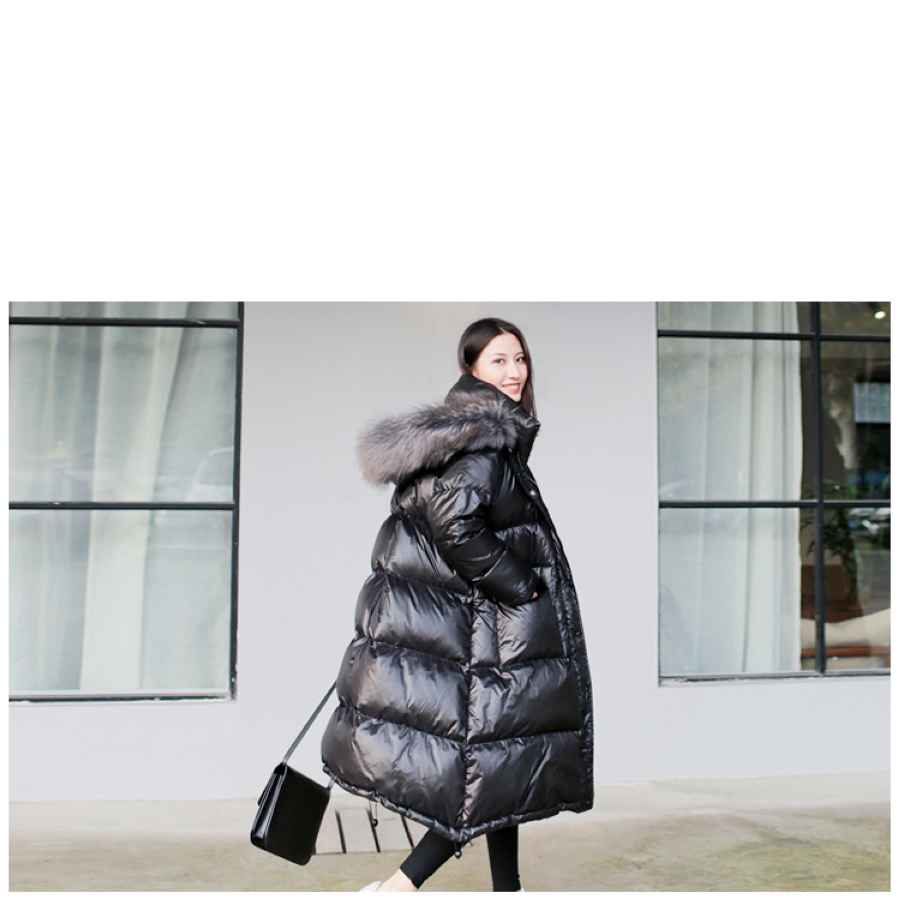 Women s Winter Black Loose Faux Fur Collar Coat Fashion Casual
