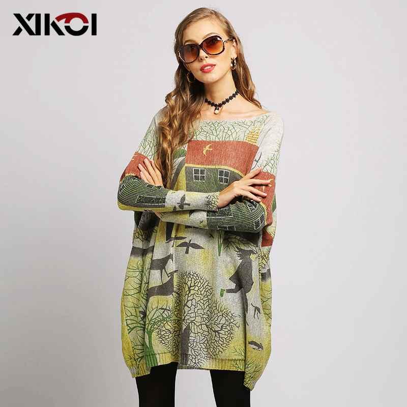 Xikoi Oversized Batwing Sleeve Sweater Casual Long Women Sweater Coat