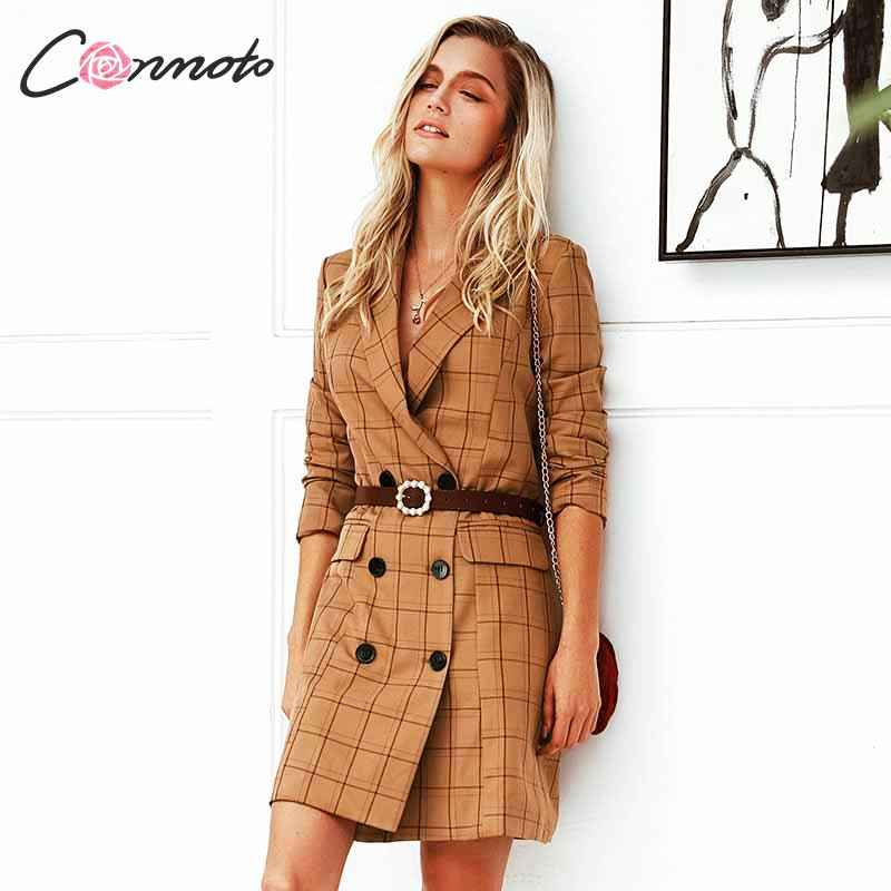 Blazers conmoto vintage khaki plaid women blazer dress 2019 autumn