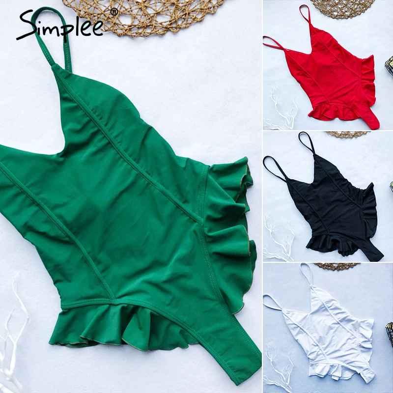 Swimwear Simplee Thong Ruffle Women Swimsuit Bikini Push Up One
