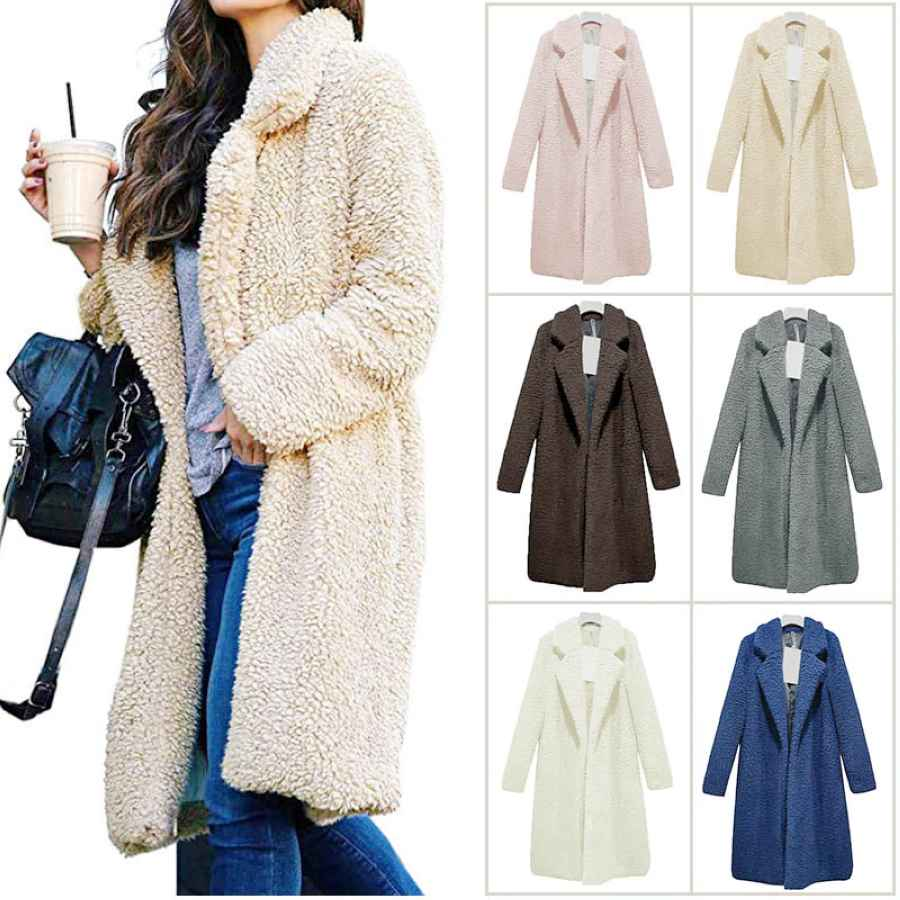 Hot Women Lady Top Coat Long Sleeve Warm Lapel Fashion