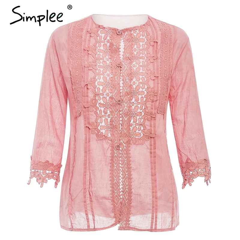 Blouses Shirts Simplee White Embroidery Women Lace Blouse Summer O