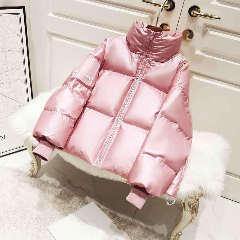 Parkas 2019 female glossy down parka winter jacket women large