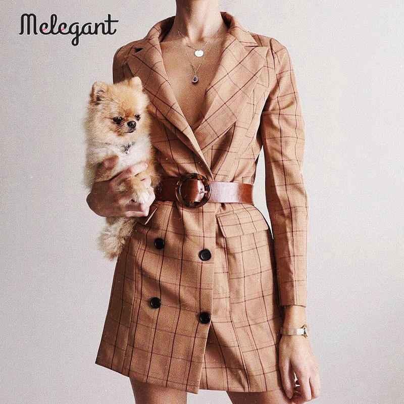 Blazers melegant casual button women blazer dress autumn winter 2019