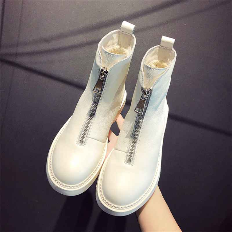 2019 New Casual Women Shoes Winter Hot Leather Short Tube