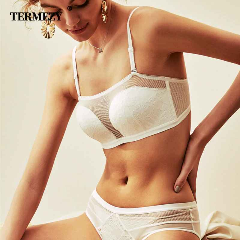 Termezy Sexy Lace Half Cup Bra Sets For Women Wireless