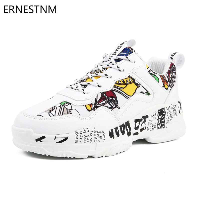 Ernestnm 2019 Summer Woman Casual Fashion Sneakers Graffiti Flats Ladies