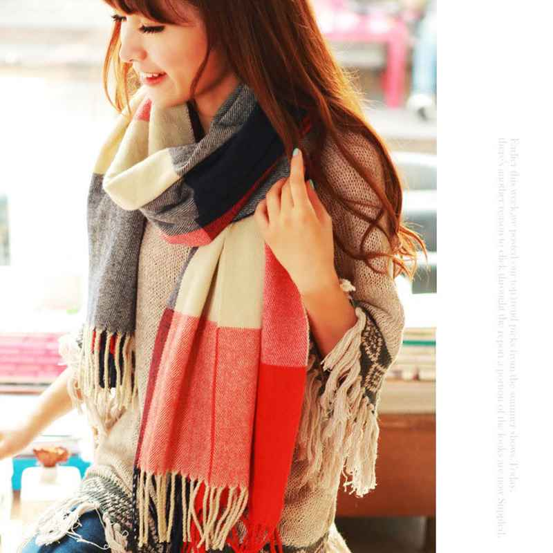 190*50cm Autumn Winter Female Wool Plaid Scarf Women Cashmere Scarves