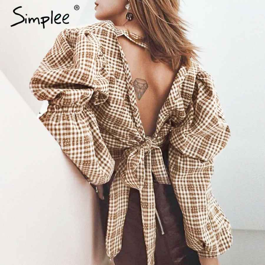 Vintage Plaid Shirt Women Blouse Backless Lace Up Female Top