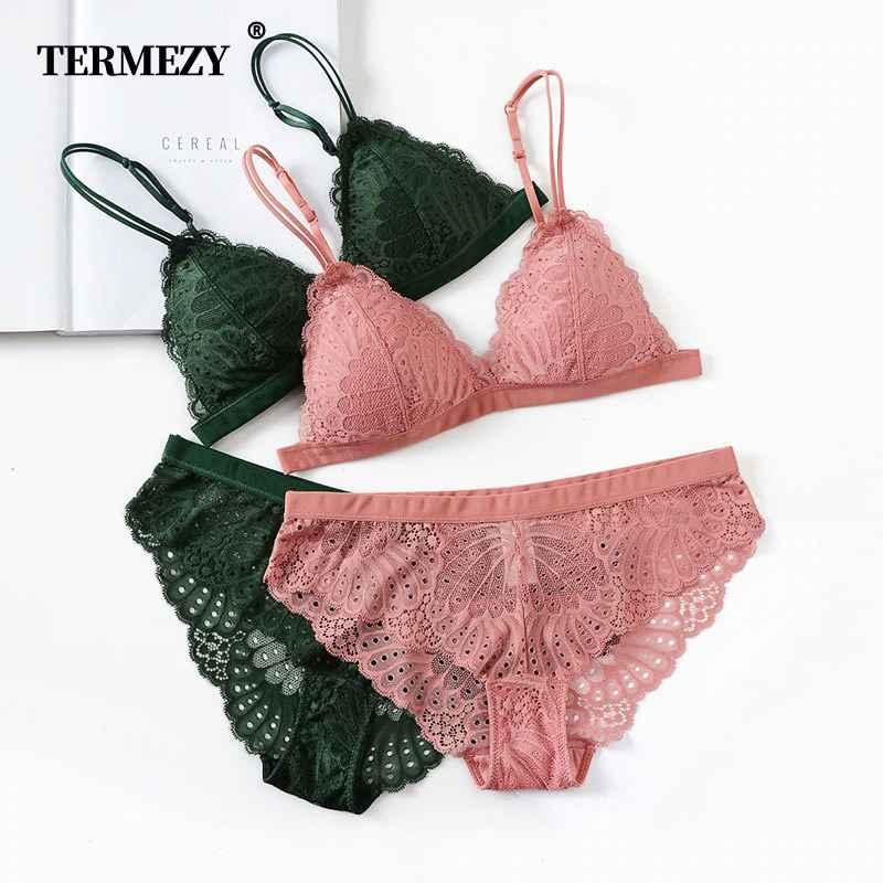 Termezy Sexy Lace Bra Set Lingerie Set Women Wireless Underwear
