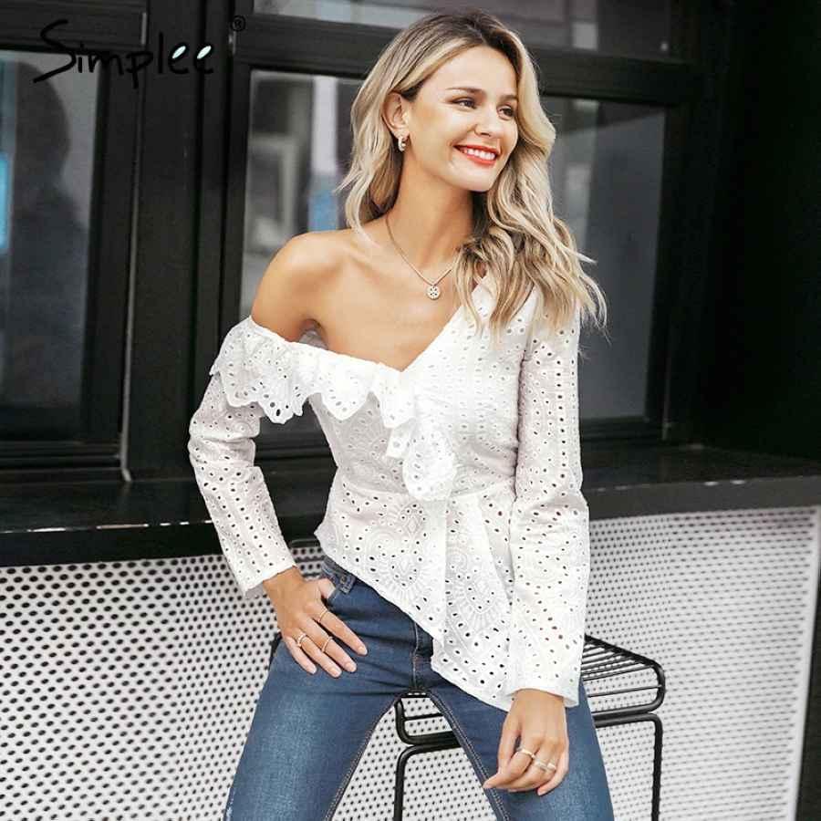 Ruffle White Cotton Lace Embroidery Blouse Women Asymmetrical One Shoulder