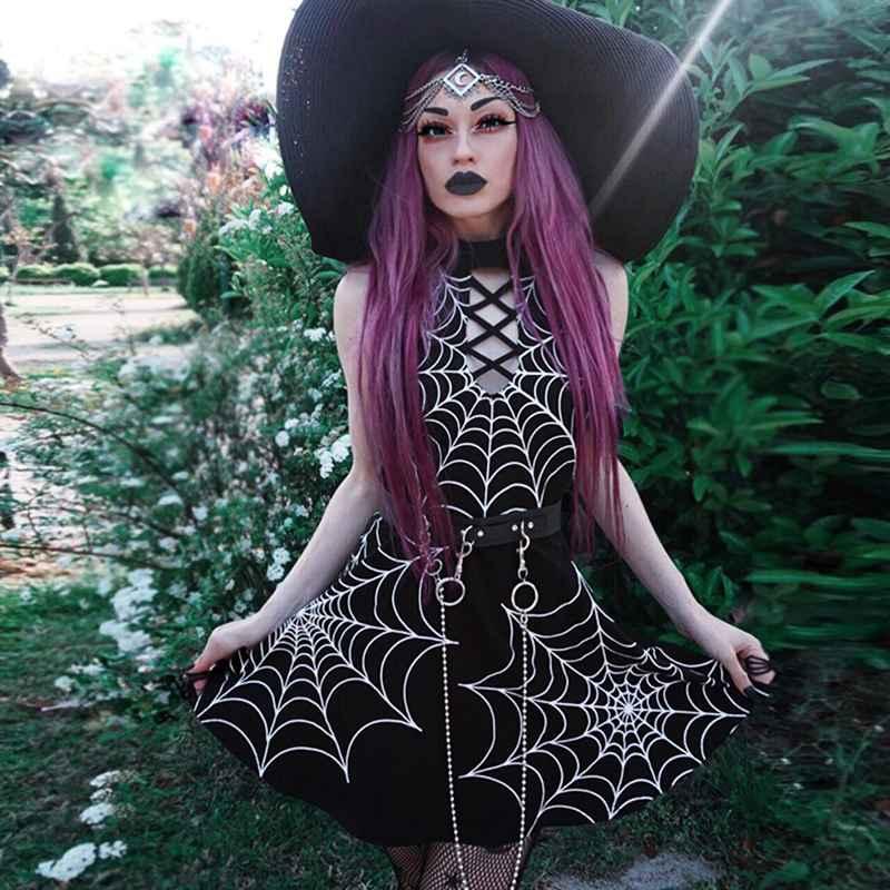 Jiezuofang Gothic Spider Wet Print Dress Sleeveless Sexy Cross Bandage
