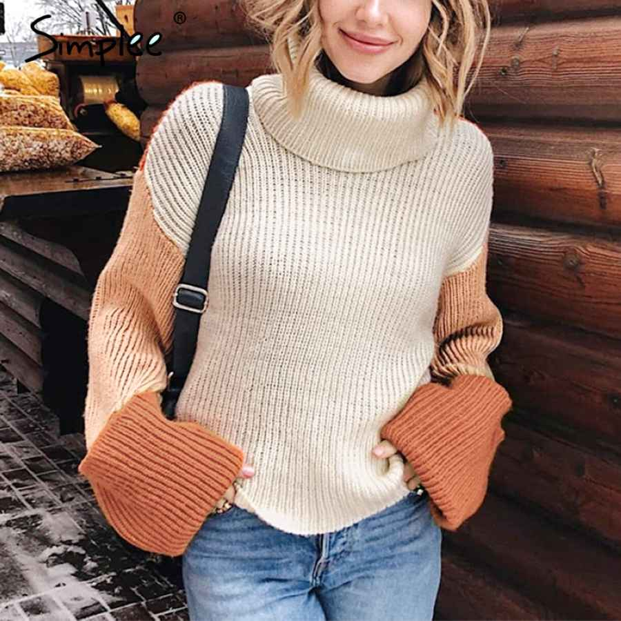 Patchwork Turtleneck Knitted Sweaters Female Casual Long Sleeve Korean Pullover