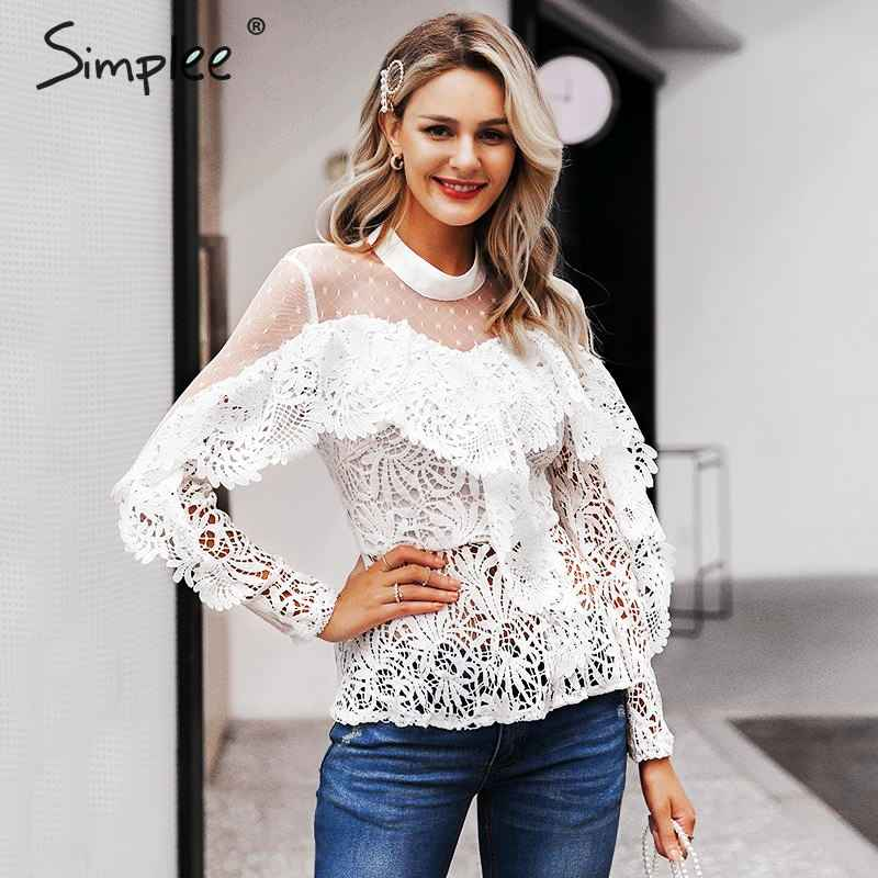 Blouses Shirts Simplee Ruffled Lace Mesh Embroidery White Women Blouse