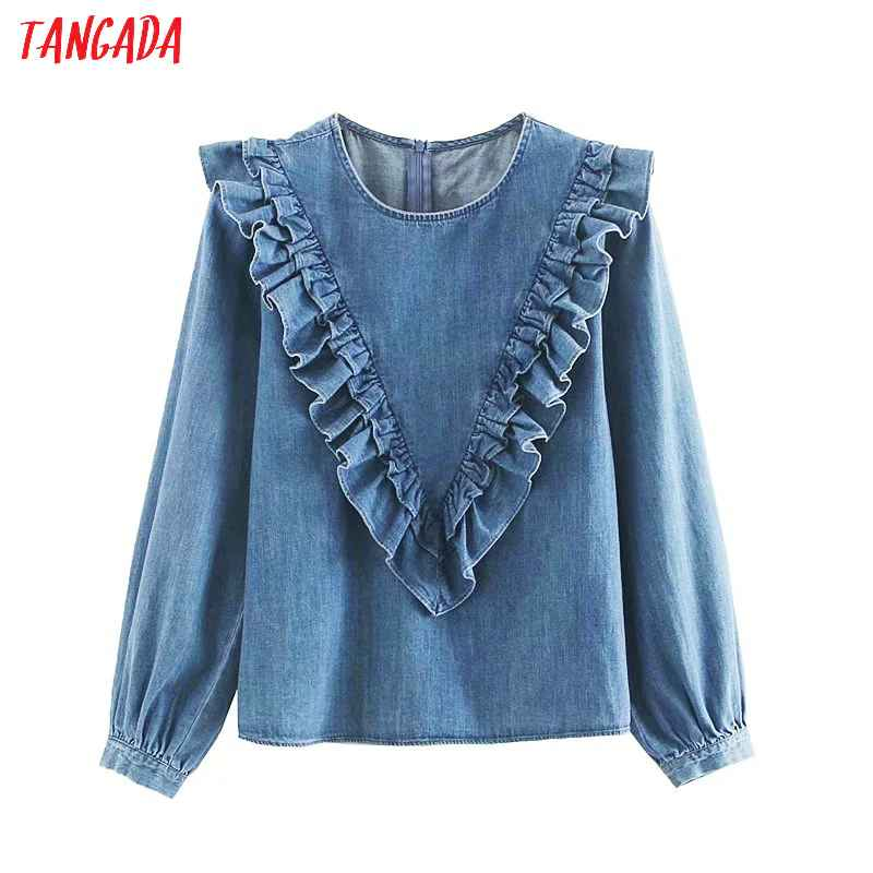 Blouses tangada women vintage denim blouse 2019 autumn o neck