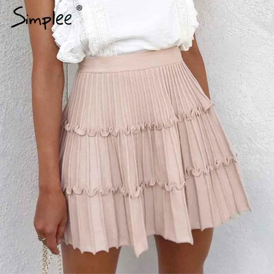 Elegant Knitted Skirt Womens High Waist A Line Ruffle Stripe