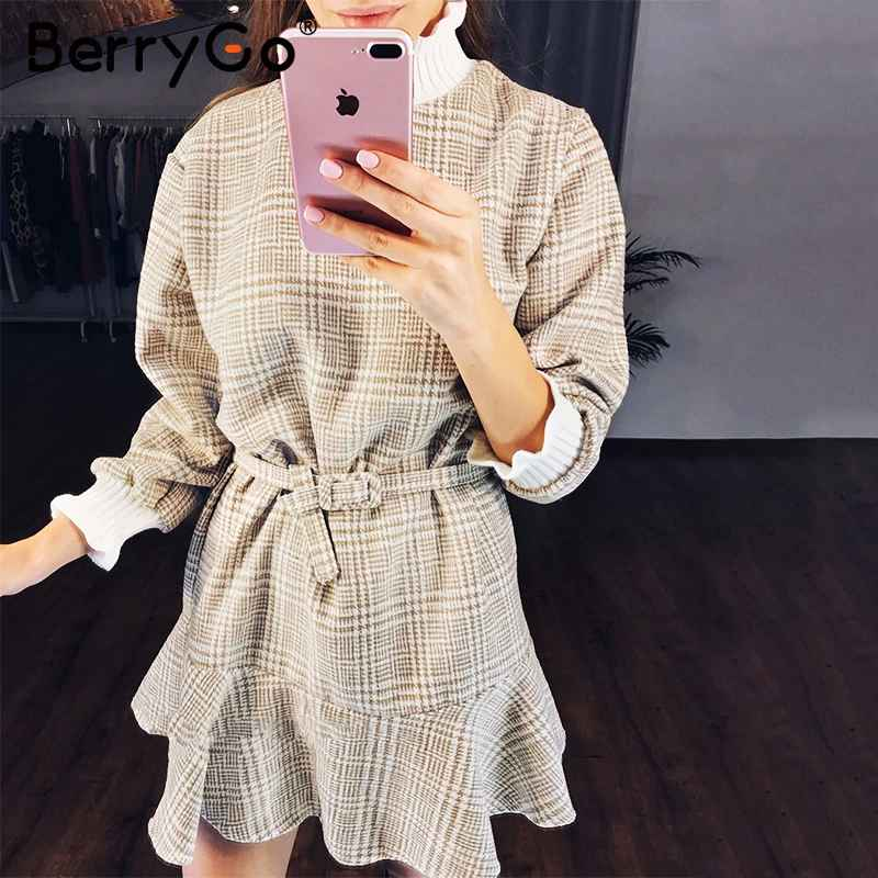 Sweaters berrygo winter plaid mini dresses women turtle neck tweed