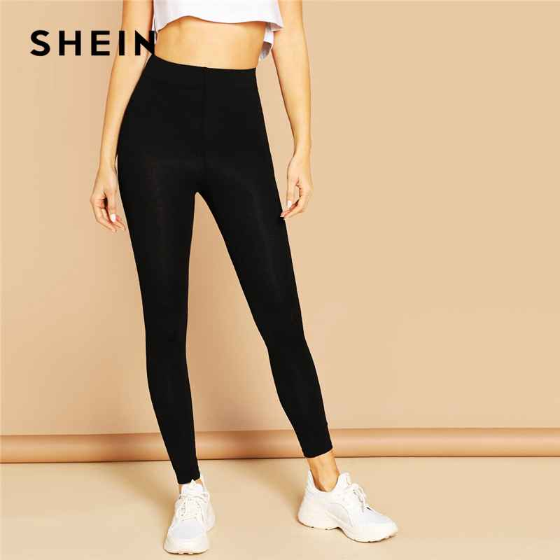 Leggings shein elastic waist solid leggings 2019 black red spring
