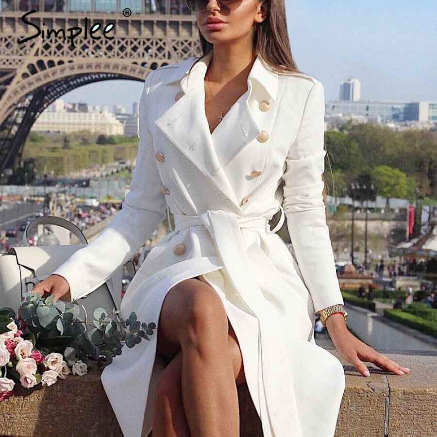 Vintage Double Breasted White Trench Coat For Women Sashes Slim