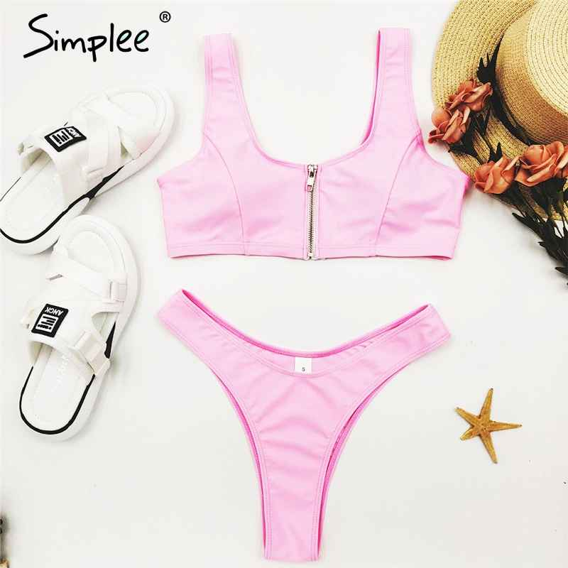 Swimwear Simplee Zipper Bikini 2019 Mujer High Cut Swimwear Women