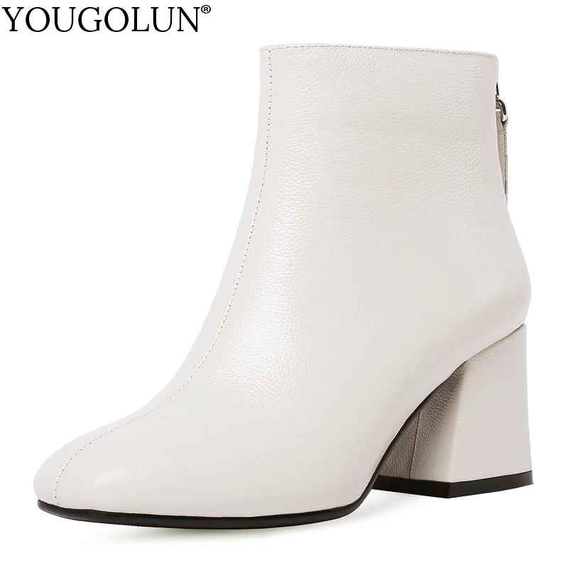 Hoof Heel Genuine Leather Ankle Boots Women Autumn Lady High