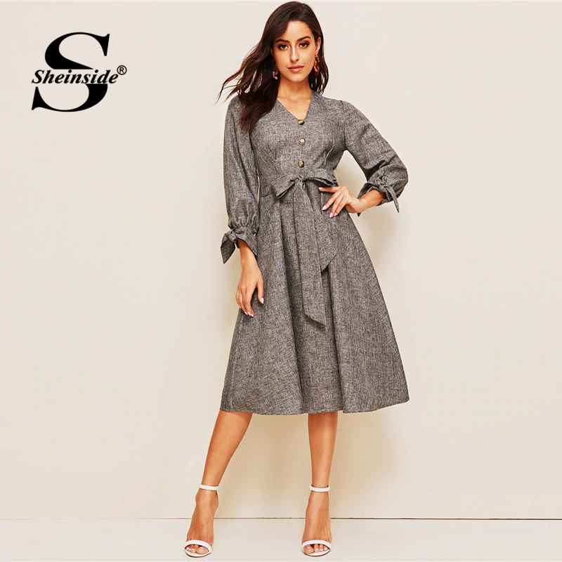 Grey Elegant Front Button Detail A Line Dress 2019 Spring