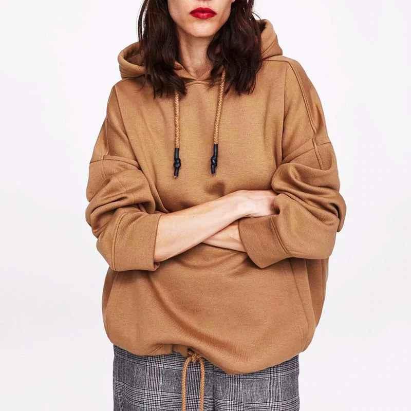 Yocalor Women Harajuku Cotton Hoodies Solid Patchwork Pockets Regular Oversize