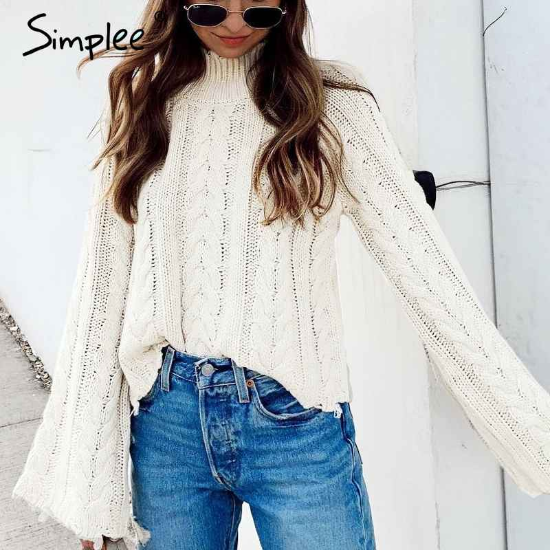 Pullover Jumpers Simplee White Knitted Sweater Women Turtleneck Flare Sleeve