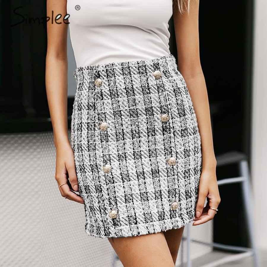 Double-Breasted Tweed Plaid Women Skirt Straight Elegant Office Ladies Short