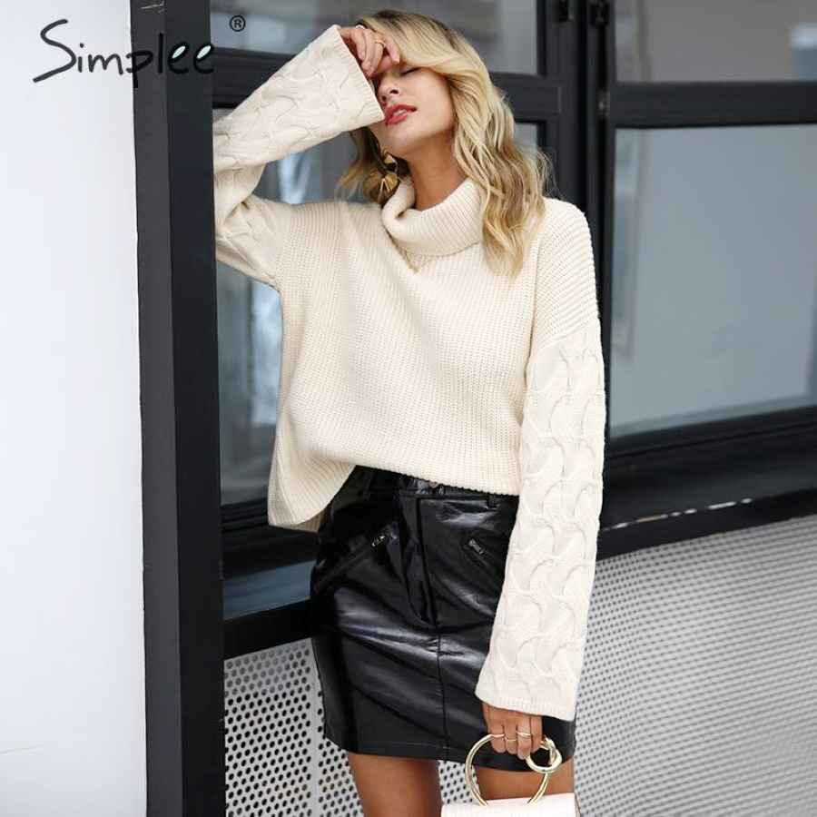Elegant Turtleneck Women Knitted Sweater Pullover Long Sleeve Casual Sweaters