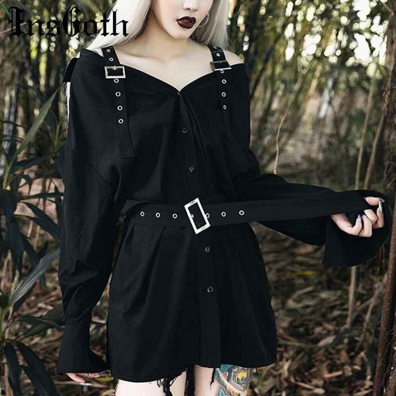 Gothic Punk Black Dress Korean Style Off Shoulder Women Dress