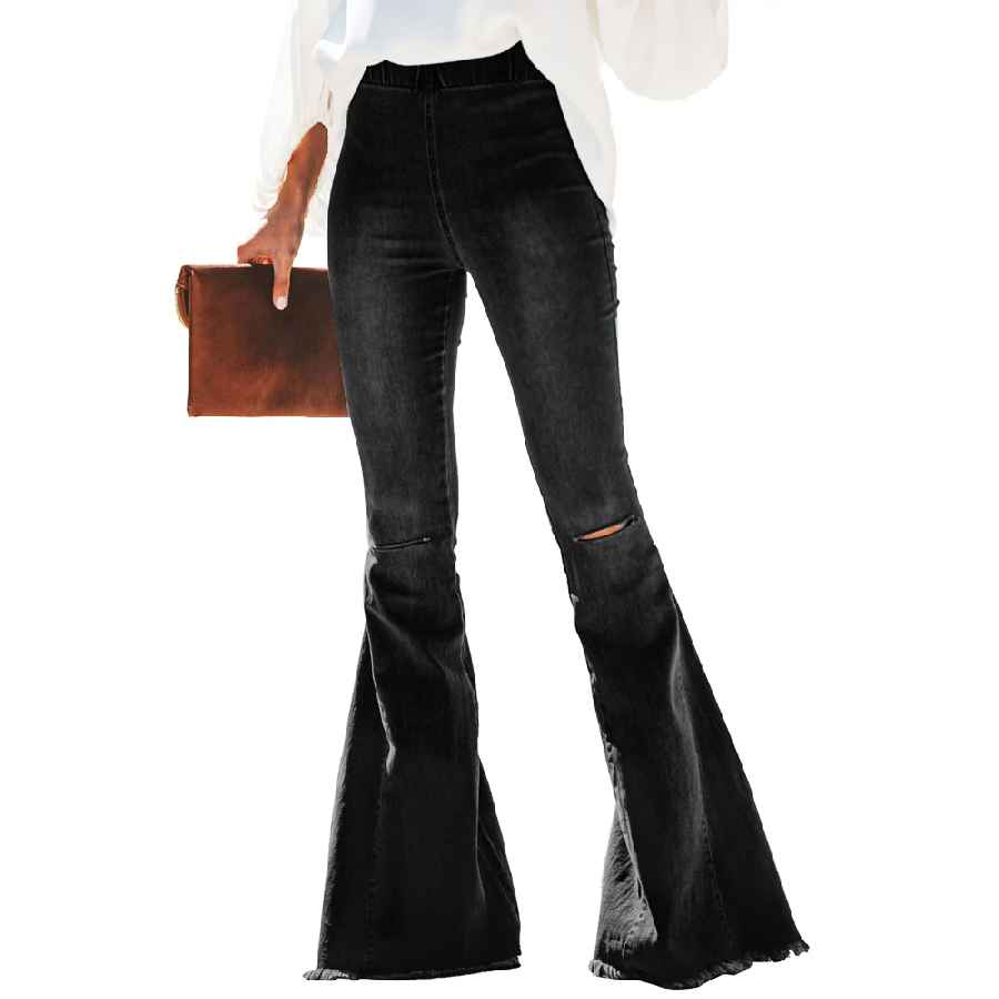 Jeans distressed bell bottom denim pants the statement fit create