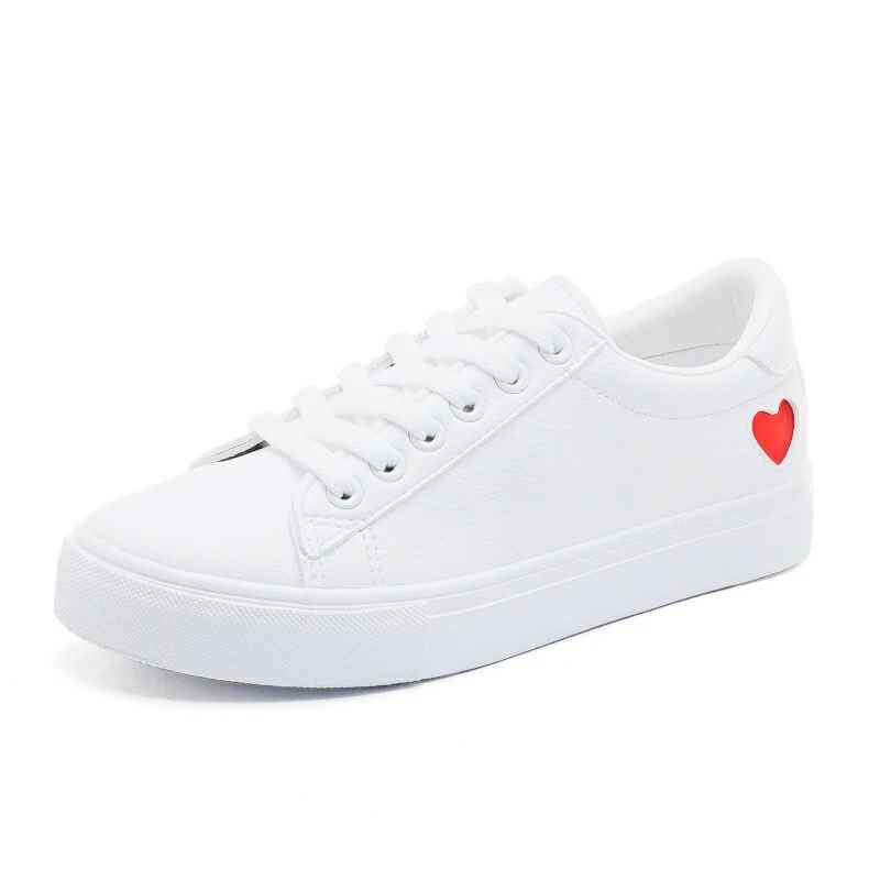 2019 New Shoes Woman Fashion Vulcanize Shoes Pu Leather White