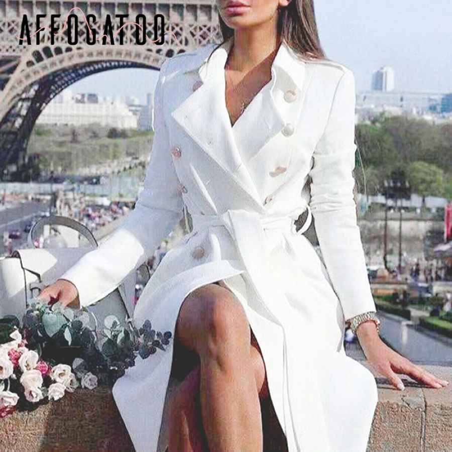 Affogatoo Elegant Office Ladies Double Breasted White Trench Coat Sashes