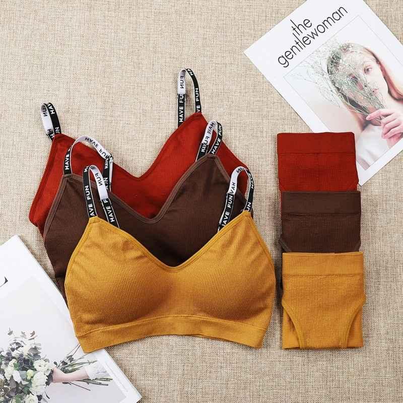 Adjustable Push Up Bras Set Women Knitting Letter Straps Bra